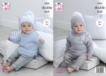 Sweaters & Hats Knitting Pattern - King Cole 5255, 16-26 inch